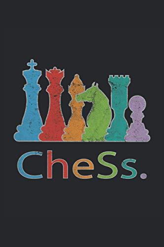 Schach Chess Schachspieler Schachfiguren König Dame Läufer Pferd Turm Schachbrett: Notizbuch - Notizheft - Notizblock - Tagebuch - Planer - Liniert - ... - 6 x 9 Zoll (15.24 x 22.86 cm) - 120 Seiten