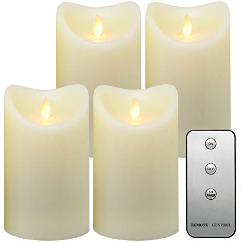 Tronje LED Echtwachskerzen 4er Set mit Timer u. Fernbedienung 15cm Kerzen mit beweglicher Flamme 1000 Std. Brenndauer Creme-Weiß