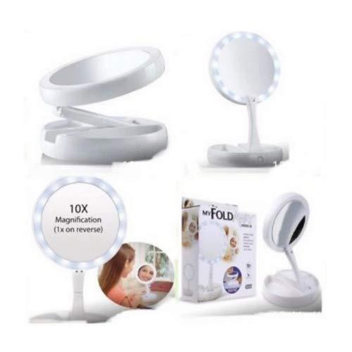 Espelho De Aumento 10x Com Luz De Iluminação Led De Mesa Dobravel E Articulável Para Maquiagem Camarim