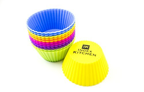 Index Kitchen: Set of 24 Silicone Baking Cups; Vibrant Colors; Dishwasher Safe; BPA Free; Non-stick; Easy to Clean; Easy to Use; Re-Usable; Durable
