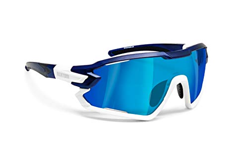 BERTONI Gafas Ciclismo Running MTB Esquí Tennis Padel Polaridas Fotocromaticas Mod. Quasar (Azul-Blanco/Espejo Azul)