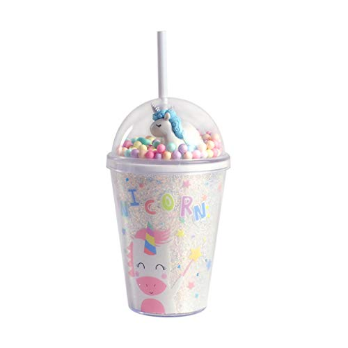 PROTAURI 13 oz Tumbler Cups with Lid and Straw - Insulated Unicorn Reusable Plastic Cup with Silicone Seal Double Wall Travel Iced Coffee Mug for Kids&Adult