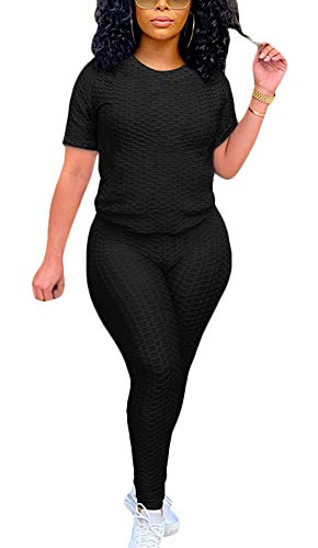 Women's Summer 2 Piece Outfit - Casual Short Sleeve T-Shirts Bodycon Pants Set Jumpsuit Rompers
