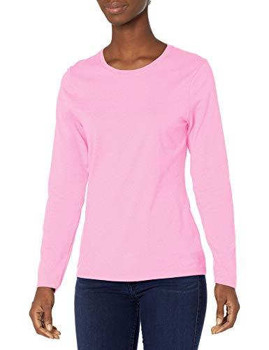 Hanes Women's Long Sleeve Tee, Pink Swish, Large