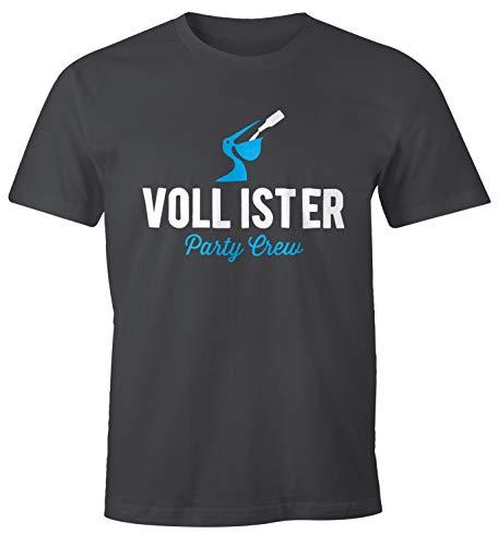 MoonWorks Lustiges Herren T-Shirt Vollister Bier Fun-Shirt dunkelgrau XXL