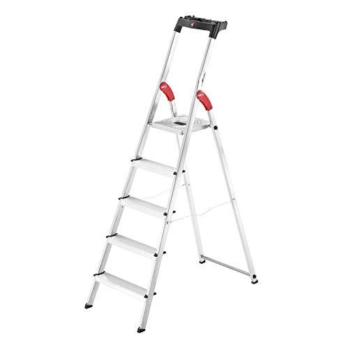 Hailo L60 StandardLine Alu-Sicherheits-Stehleiter , Leiter 5 Stufen belastbar...