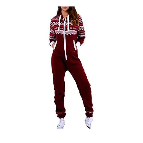 Eshal Fashion Dame Frauen One Zip Onesie Jumpsuit Playsuit Anzug Schlafanzüge Overalls Hoodies Nachtwäsche (Medium, Wine-Aztec)