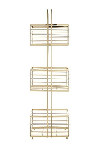 Premier Housewares Carrito de Almacenamiento de 3 Niveles, Alambre de Hierro, Dorado, 16 x 22 x 73 cm