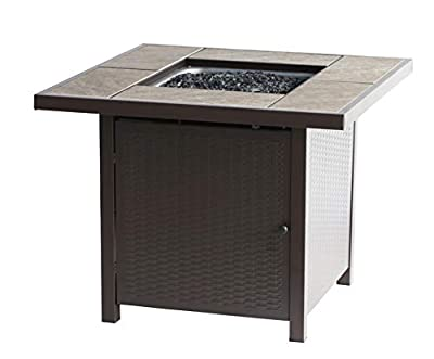 BALI OUTDOORS Propane Gas Fire Pit Table, 32 inch 50,000 BTU Square Gas Firepits with Cover for Outside, Brown