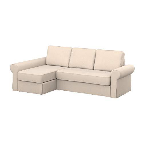 Soferia Ersatzbezug fur IKEA BACKABRO 2er-Sofa mit Recamiere, Stoff Softi Beige, Beige