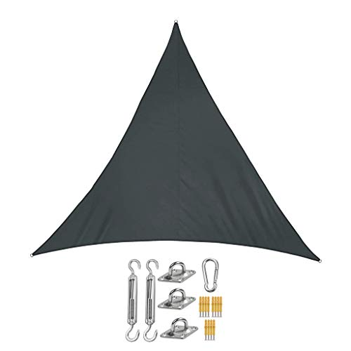 Sun Shade Sail Canopy Triangle Waterproof Anti-UV Awning with Fixing Kit Polyester Sunscreen for Outdoor Patio Garden (Color : Black, Size : 2.4x2.4x2.4m)