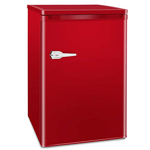 Kismile 3.0 Cu.ft Compact Upright Freezer, Mini Freezer with Single Door and Removable Shelves, Freestanding Freezer for Apartment,Home,Office,Dormitory (Red, 3.0 Cu.ft)