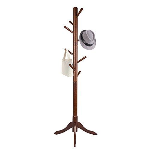 Vlush Free Standing Coat Rack 8 Hooks Wooden Coat Hat Tree Coat Hanger Holder Enterway Hall Tree with Solid Rubber Wood Base for Coat Hat Clothes Scarves Handbags Umbrella-Coffee