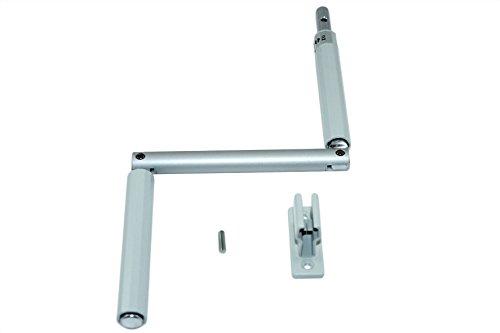 SN-TEC Kurbel/Kurbelstange/Gelenkkurbel für Rolladen und Oberlichter Fenster silber incl. Kurbelhalter