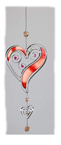 Formano Fenster-Deko Fensterhänger Herz hängend Dekohänger Glasbild Tiffany rot