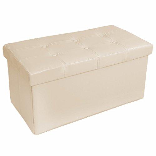 TecTake 80x40x40 cm Tabouret Pouf Cube Dé Pliable Coffre Cube Siège Boîte de Rangement Noir (Beige | No. 401461)