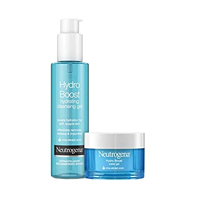 Neutrogena Hydro Boost Water Gel Facial Moisturizer with Hyaluronic Acid, 1.7 fl. oz & Neutrogena Hydro Boost Hydrating Gel Facial Cleanser with Hyaluronic Acid, 6 oz