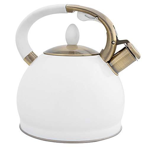 Siffler bouilloire à thé en acier inoxydable Teapot for Stove Top Kettle café avec poignée anti-Hot for TOUS 3.5L une cuisinière (Color : White)