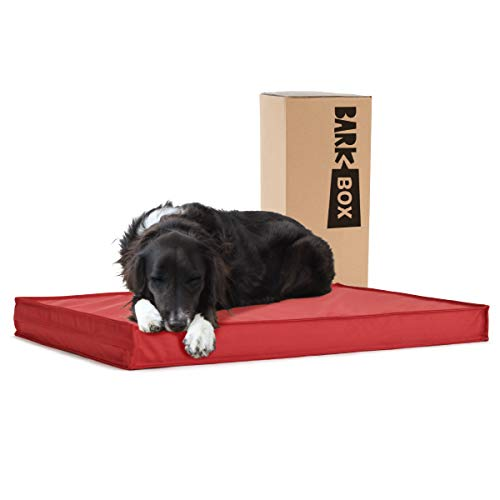 BarkBox Outdoor All Weather Dog/Cat Bed, Waterproof, Machine Wash, Removable Cover, Memory Foam for Orthopedic Joint Relief.All Season Camping Crate Pet Mattress for Small/Medium/Large Pets