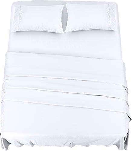 Utopia Bedding Juego Sábanas de Cama - Microfibra Cepillada - Sábanas y Fundas de Almohada (Cama 135, Beige), (Cama 180, Blanco)
