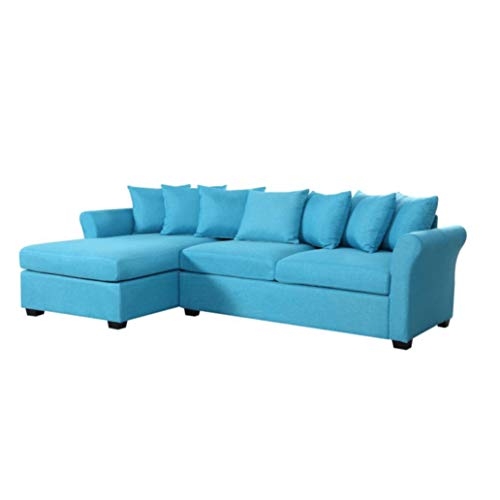 BHDesign Adele hoekbank, breed, modern design, stof, blauw
