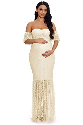 ZIUMUDY Women's Off Shoulder Ruffle Sleeve Lace Mermaid Maternity Baby Shower Gown Maxi Photography Dress