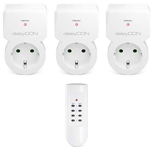 deleyCON Funksteckdosen Set 3x Funksteckdose + 1x Fernbedienung 4 Funkkanäle Funkschalter Set Innenbereich bis 30m 1100 Watt Kindersicherung - Weiß
