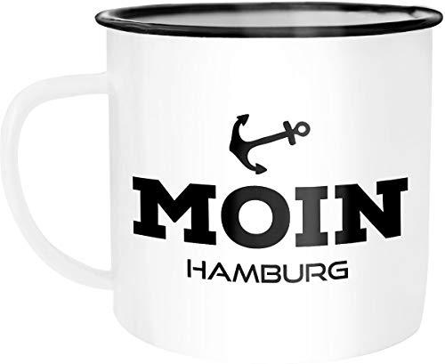 Moonworks Emaille Tasse Becher Moin Hamburg Anker Kaffeetasse weiß-schwarz unisize