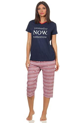 Damen Capri Pyjama Schlafanzug Kurzarm im maritimen Streifen Look 64227, Farbe:Navy, Größe2:36/38