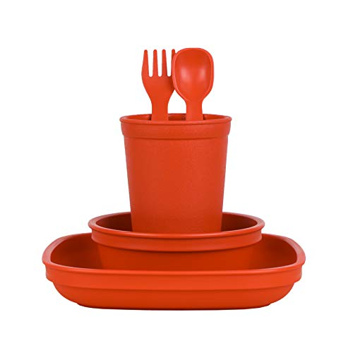 Re-Play Made in The USA Eco Friendly Dinnerware Set for Toddlers and Children - Drinking Cup, Deep Walled Plate, Bowl, Spoon & Fork Set (Red)