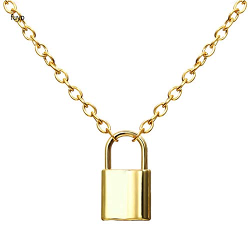 Daman Punk Chain With Lock Necklace For Women Men Padlock Pendant Necklace Statement Gothic Cool Femme Fashion,gold