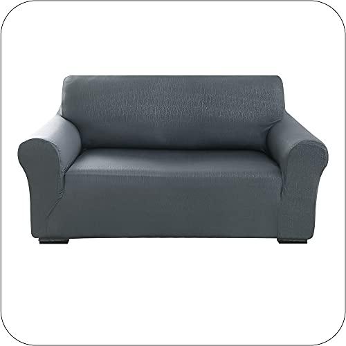 Amazon Brand - Umi Sofabezug Geprägt Sofa Überzug SofaüberwurfCouchhusse Stretch mit Borkenmuster 152x83x89 Grau 2-Sitzer