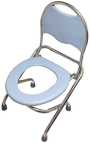Folding KopfendeCommode Stuhl,Heavy-Duty -Rückenlehne Edelstahl WC -Sitz, Tragfähige 330 Lbs, bewegliche bewegliche Abnehmbarer Toilettenstuhl, Geeignet für Senioren,Schwangere Frau