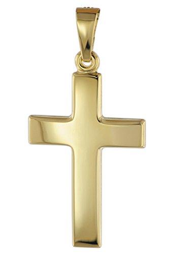 trendor Kreuz Anhänger für Damen und Herren 585 Gold 21 mm Damen und Herren Goldanhänger, Kreuzanhänger Echtgold, Geschenkidee, Schmuck aus Gold 08610