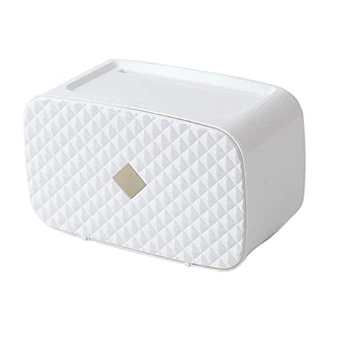 Soporte para papel higiénico Caja de pañuelos de plástico resistente al agua Soporte para papel higiénico Baño montado en la pared Tubo de papel en rollo Caja de almacenamiento Organizador d