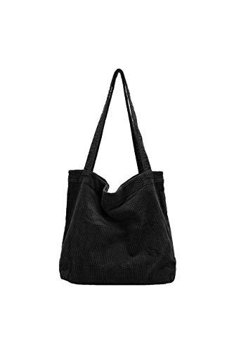 Ulisty Damen Grosse Kapazität Cord Schultertasche Retro Handtasche Mode Einkaufstasche Tägliche Tasche schwarz