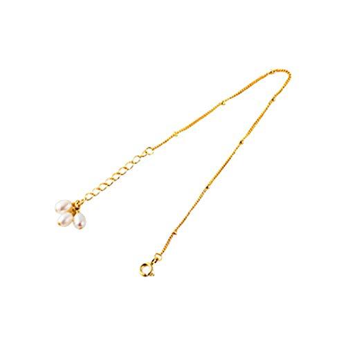 Pulsera magnética de las mujeres Brazalete de perlas de agua dulce natural de la pulsera de la pulsera de señora desgaste diario diseño elegante pulsera de cristal ( Color : Gold , Size : 14cm+4cm )