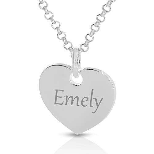 Silberkette mit Herz Anhänger mit Gravur mit Namen Namenskette Herzkette 925 Silber Silberschmuck personalisiert individualisiert