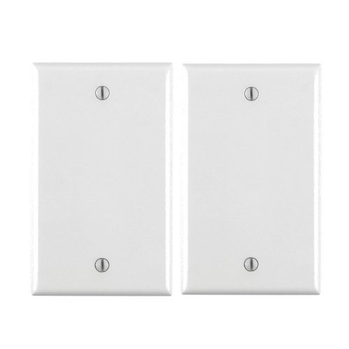 Leviton 80714-W 1-Gang No Device Blank Wallplate, Standard Size, Thermoplastic Nylon, Box Mount, White … (2 Pack)
