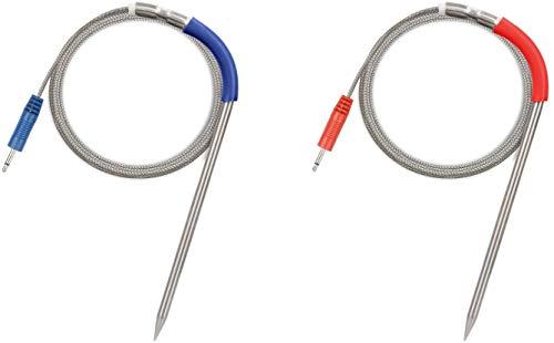 Fleischsonde Ersatzthermometer Sonde Temperatursonde Wasserdichte Sonde für Weber iGrill iGrill 2 iGrill Mini iGrill 3 (Rot + Blau)