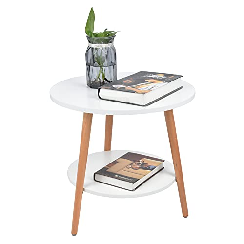 Mesa auxiliar de sofá, mesa redonda pequeña para aperitivos, mesa de centro blanca de 2 niveles, mesa nórdica moderna, mesa de centro pequeña, mesa de sofá con estante de almacenamiento para sala de e