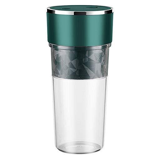 Juicer Cup, Portátil Multifuncional Exprimidor Exprimidor Juicer Juice Extractor Mini tamaño Blender USB Recargable Limón Naranja Exprimidor con Paja para Viajes, 4 Cuchillas, 500 ml (Color : Green)
