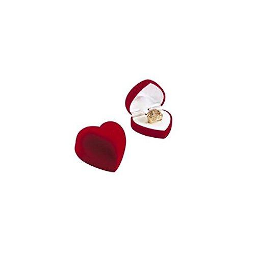 Ecrin coeur bague en velours rouge Boîte à Bijoux Anneaux Bague Rangement Porteur Mariage