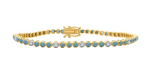 1.90mm Turquoise with Sim.Diamond in 14K Yellow Gold Over Women's Tennis Bracelet Perfect Jewelry (LONG - 7.5 Inch Length)