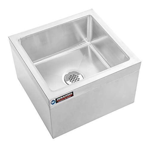 DuraSteel Stainless Steel Floor Mount Mop Sink/Basin with Sink Drainage/Strainer - NSF Certified - 24