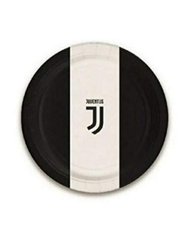 Bigiemme Piatti Juventus Juve Bianco Nero 23 CM 8 PZ in CARTONCINO Decorazioni TAVOLA Compleanno Festa Squadre Calcio, Multicolore