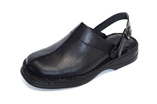 KS - 30 - Zuecos para Hombre - Ideales para Verano - Cuero - Negro/cinturón 43