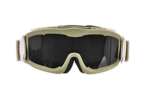 Lancer Tactical AERO 3mm Thick Dual Pane Lens Eye Protection Safety Goggle System ANSI Z87 1 Rated Industry Standard Panel Ventilated w/Anti-Scratch Shield Fully Adjustable (Tan/Clear)