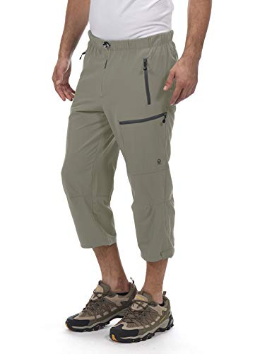 Little Donkey Andy Men's Quick Dry 3/4 Pants Capri Shorts Lightweight Hiking Travel Casual Sage Size L