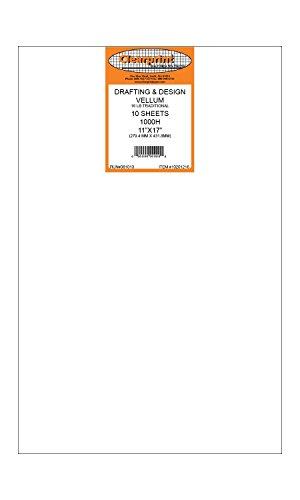 Clearprint 1000H Design Vellum Sheets, 16 Lb., 100% Cotton, 11 x 17 Inches, 10 Sheets Per Pack, 1 Each (10201216)